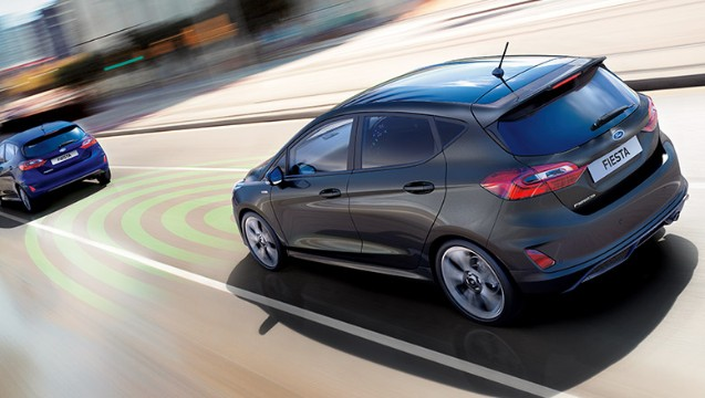 Next Generation Ford Fiesta exterior rear view, on the road, adaptive cruise control