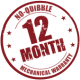 No quibble 12 month mechanical warranty